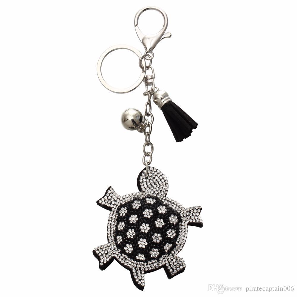 Moda llavero Rhinestone tortuga colgante de cuero de la aleación de la borla del bolso del sostenedor del anillo de recuerdos de las mujeres llavero de plata