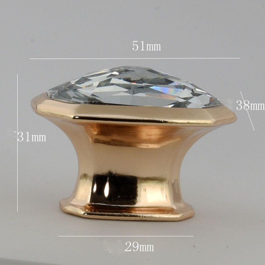 moderno semplice moda cristallo trasparente cassetto cristallo manopole tavolo tv tira in oro rosa strass armadio da cucina cupborad maniglie delle porte