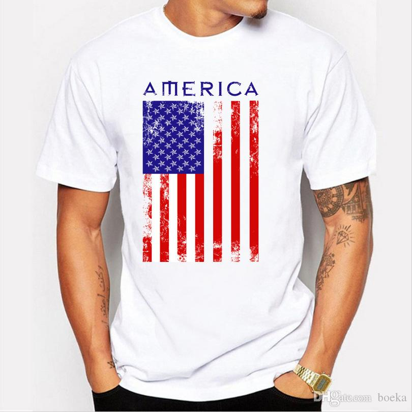 2017 Summer USA Flag Men T shirts 100% Cotton Short Sleeve Fans Nostalgia United States Flag Style T-shirts For Men