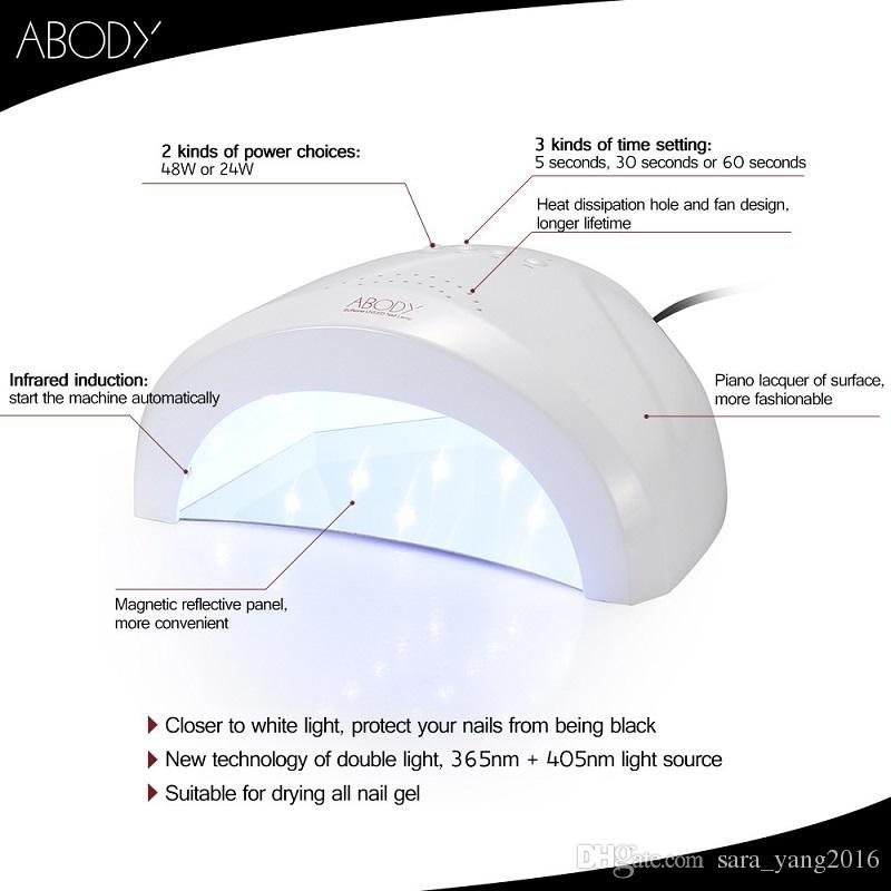 Sunone Professional White Light 48W UV LED Lamp UV Nail Dryer 365+405nm Curing UV Gel LED Gel Nail Polish Nail Art Tool WA2503
