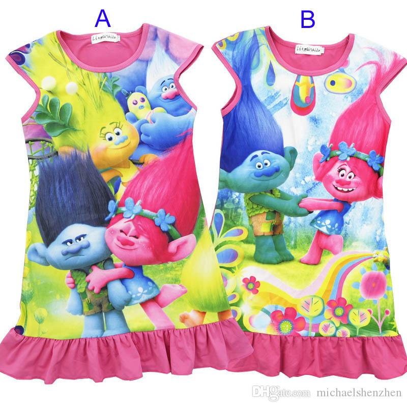9c9110251b 2019 Girls Trolls Poppy Branch Princess Dress 2017 New Children Trolls  Cartoon Short Sleeves Pajamas Dresses Kids Clothes B001 From  Michaelshenzhen