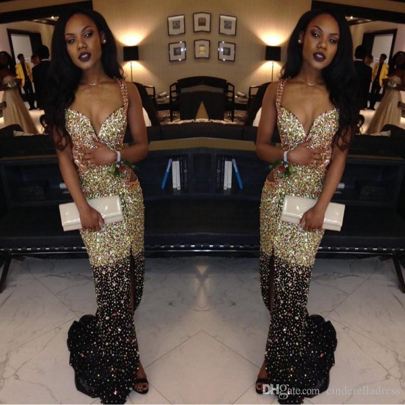 Sexy Sparkly African Black Girls Crystal Prom Dresses 2017 Spaghetti