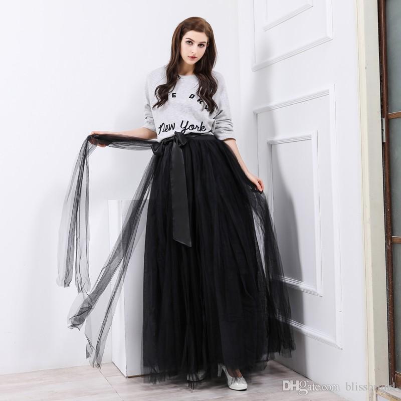 bc7d7bc88 Moda una línea faldas Tulle palabra de longitud vestidos de fiesta falda  plisada negro con cinturón 2017 mujeres falda 100% por encargo Real Picture