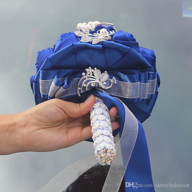 Royal Wedding Bouquets Rose Artificial Sweet 15 Quinceanera Bouquet Crystal Silk Ribbon New Buque De Noiva W228-D