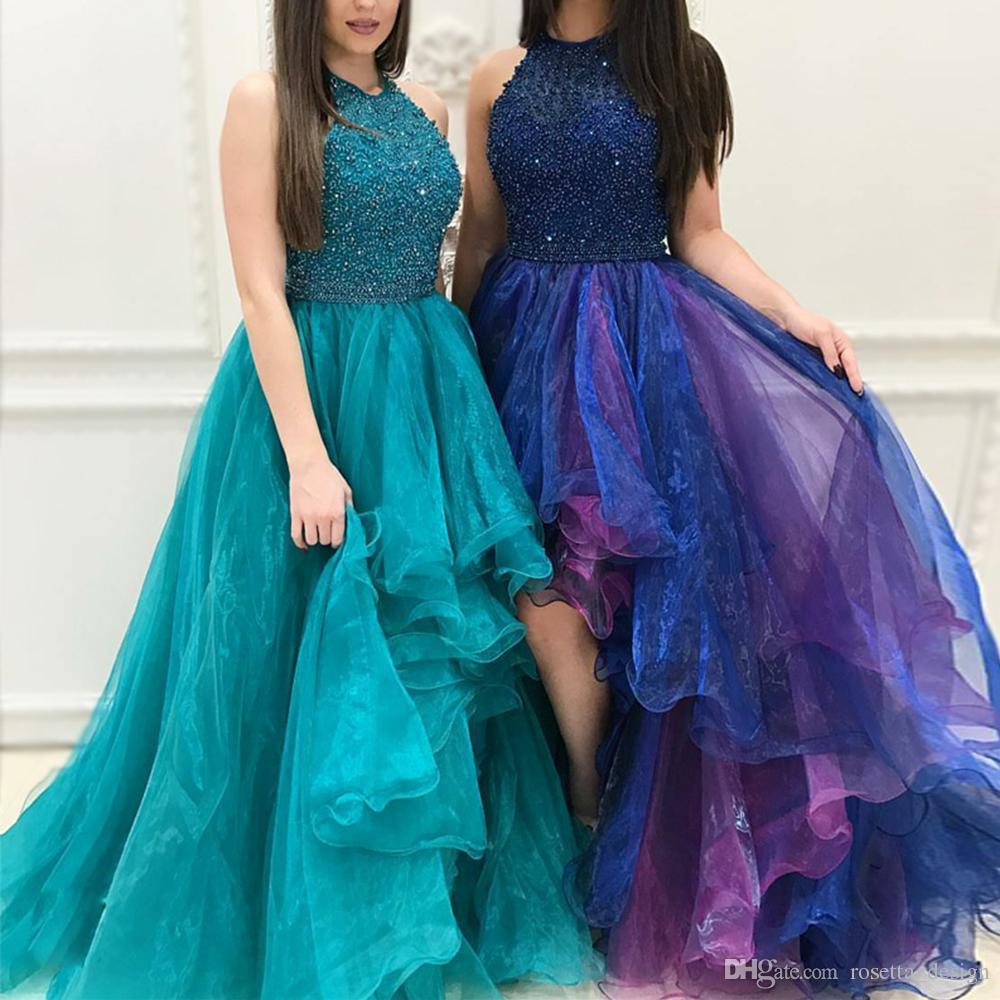 Großhandel 2017 High Low Prom Kleider Halfter Perlen Kristall ...