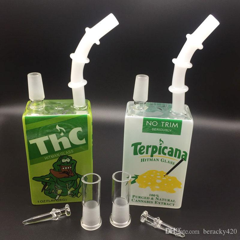Glass Juice Box Dab Oil Rigs Beaker Bong 7.5 inch Liquid Sci Glass Cereal Box Water Pipes with 14mm Male Joint