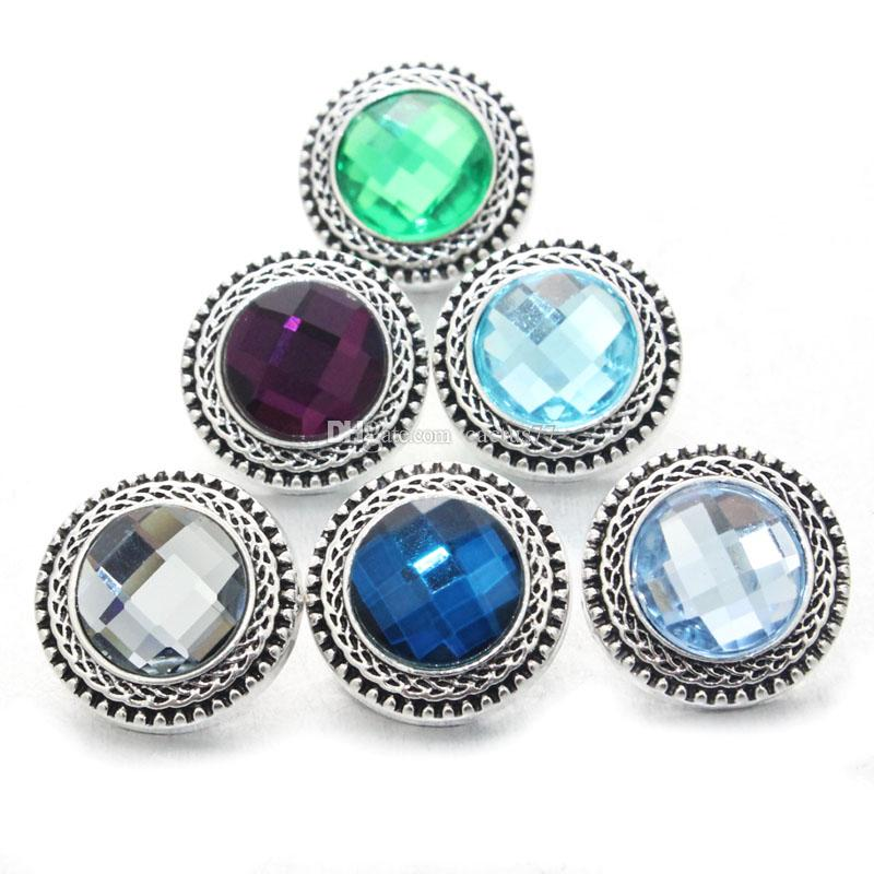 Vintage 7 colori Crystal Snap Button Charms 18mm Snap Button Accessori gioielli FAI DA TE Noosa Ginger snap braccialetto braccialetto collana gioielli