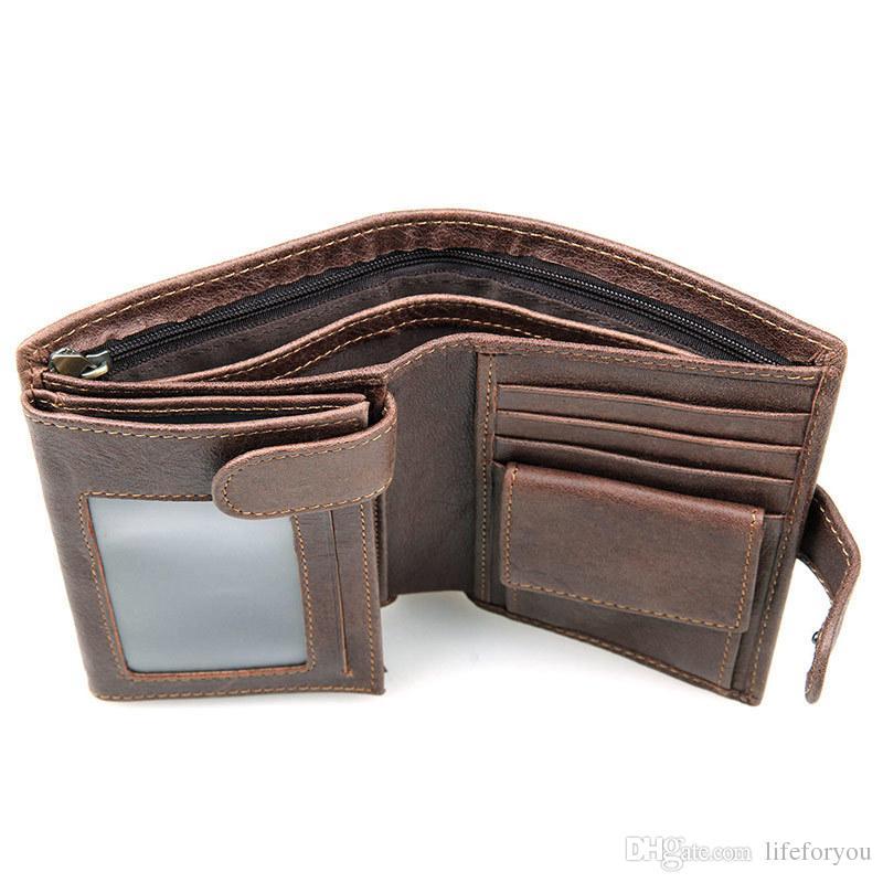 Lüks cüzdan erkek cüzdanlar mens cüzdan kısa rahat inek hakiki deri sikke ve çoklu kredi kartı sahipleri paket cüzdan