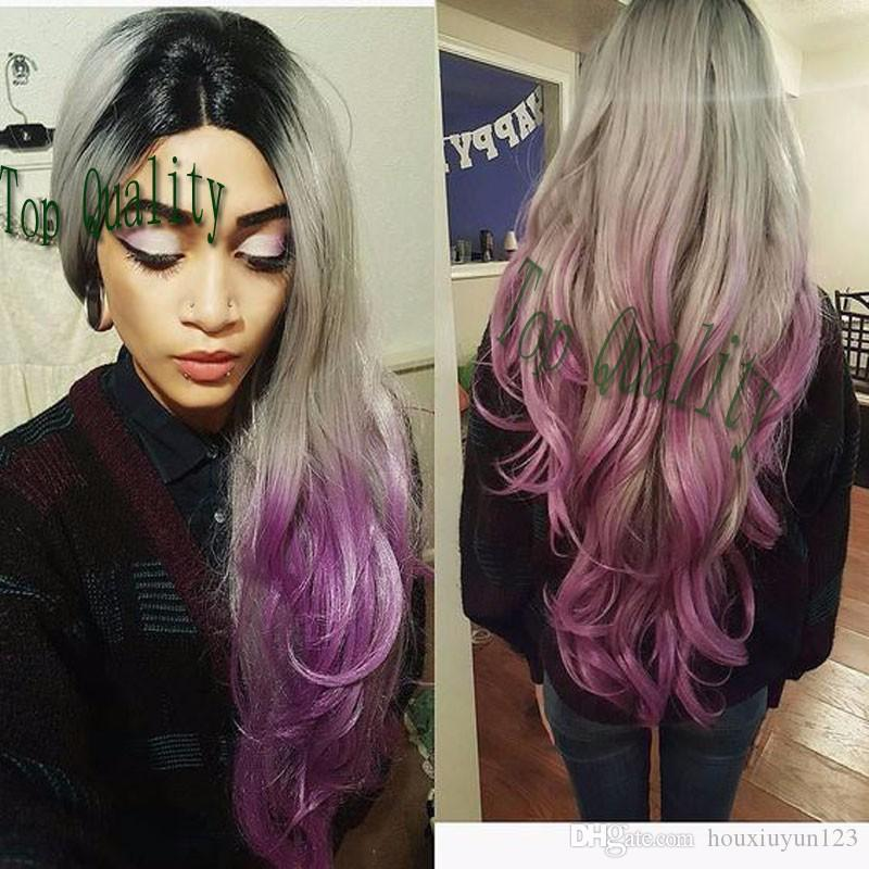 Fashion Long Body Wave Synthetic Black Ombre Grey Purple Lace Front Wig Glueless Heat Resistant With Dark Roots Baby Hair For Black Women