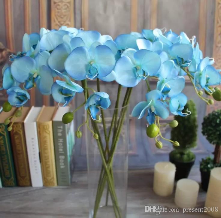 Güzel 78 cm Uzunluk Yapay İpek Phalaenopsis Kelebek Orkide Yaprak Pot Çiçek Aranjmanı Düğün Doğum Günü Dekorasyon Için