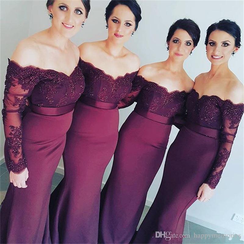 Compre Elegante Vestido De Dama De Honor Largo De Lila Sirena Sirena ...