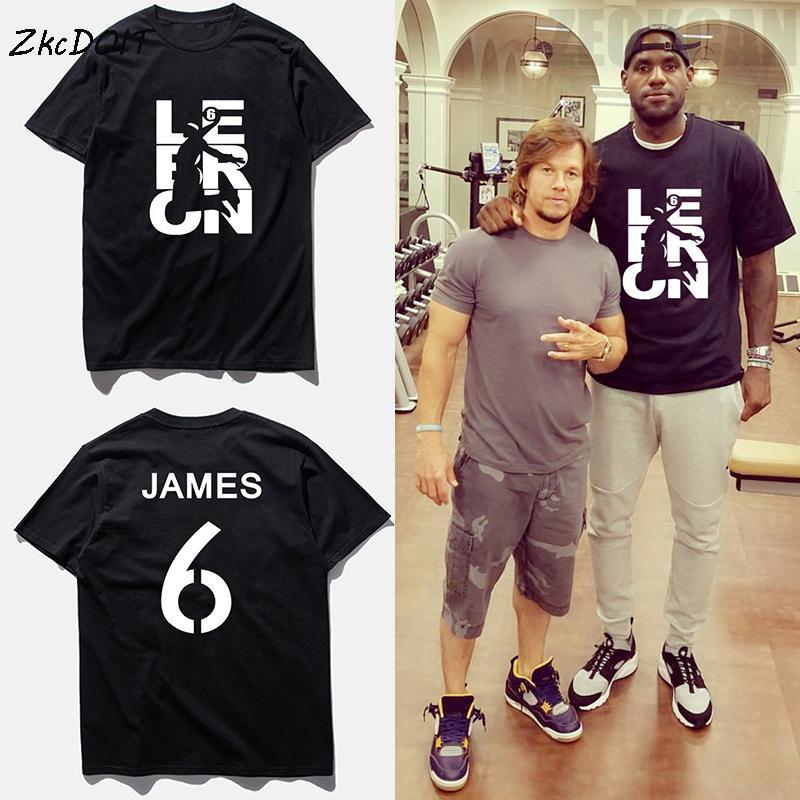 2018 Summer Tee Shirt Homme LeBron James No.6 Basketball Short Sleeves Top  Shoot At The Basket Pattern Men T Shirt Large Size  a3803981ebf4