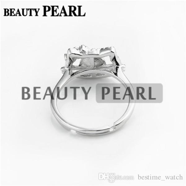 Bulk of Cute Cat Ring Blanks 925 Sterling Silver Zircon Jewellery Pearl Party Gift