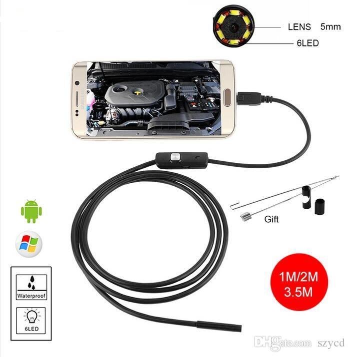 5.5mm USB Endoscope Androïde Étanche Tube De Tuyau Inspection Caméra Caméra 1M 2M 3.5M Endoscope Endoscopio De Voiture Étanche