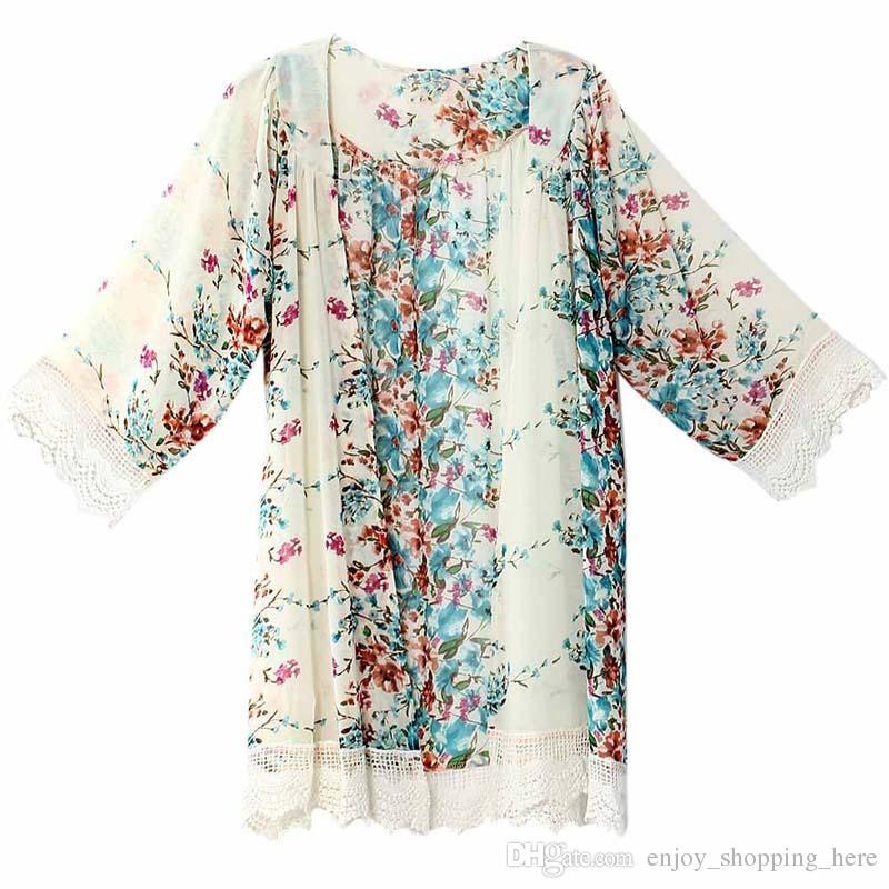 Women Kimono Lace Tassel Flower pattern Shawl Kimono Cardigan Style Casual Crochet Lace Chiffon Coat bikini Cover Up T shirt Blouse XXL