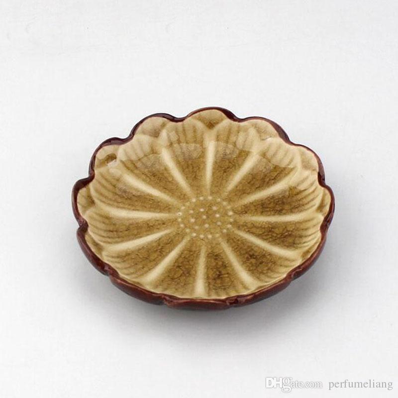 11 * 2.3 cm stile giapponese colorato in ceramica girasole forma di loto piatto di cibo piatto di frutta spuntino vassoio da tavola attrezzo della cucina ZA3450