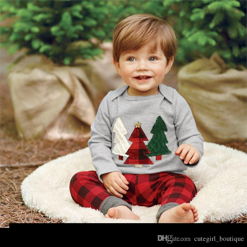 Toddler Christmas Outfit.2019 Children Christmas Outfits Infant Baby Xmas Tree Print T Shirt With Matching Red Plaid Long Pants Two Piece Sets Kids Cotton Clothing Suit From