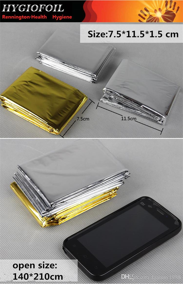 Hot Sale Waterproof Emergency Survival Rescue Blanket Foil Thermal Space First Aid Sliver Rescue Curtain Outdoor Gear Multifunction