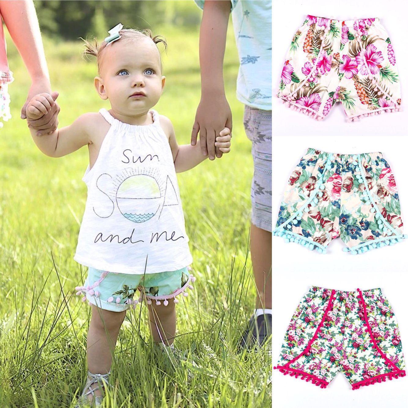 Summer 2017 Kids Pom Pom Shorts Toddler Tassel Floral Shorts Baby