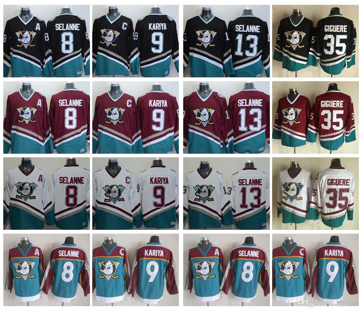 dd437941 2019 Vintage Anaheim Mighty Ducks Hockey Jerseys 8 Teemu Selanne 9 Paul  Kariya 35 Jean Sebastien Giguere 13 Selanne 1998 CCM Jersey From Tryones,  ...