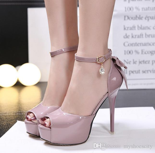 776ade0f7919 2017 Bridesmaid Wedding Shoes Women High Heel Ankle Strap Platform Summer  Sandals With Bowtie White Pale Pink Black Size 34 To 39 Online Clothes  Shopping ...