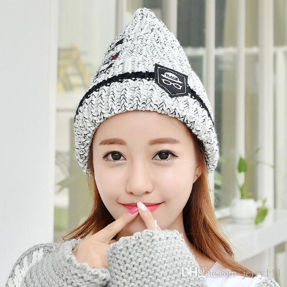 Korean Style Acrylic Pointy Beanie Hat Warm Winter Hats For Women And Men  Multi Color Beanie Skull Caps Pointy Knitting Hat LA341 2 Knit Cap Slouch  Beanie ... 342d97c6986