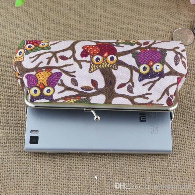 18*9CM Coin Purse Canvas cartoon Owl Wallet Hasp Clutch Mobile Phone HandbagMoney Bag Vintage Coin Purse key holder Xmas gift