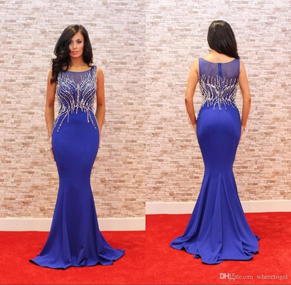 Modest Royal Blue Prom Party Dresses Mermaid Heavy Crystal Satin Red Carpet Evening Gowns Hot Sale 2017 Custom Made