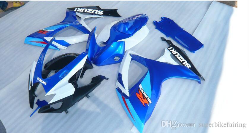 3 бесплатные подарки Новый Suzuki GSXR600 GSXR750 K6 06 07 GSXR600 GSXR750 K6 2006 2007 ABS инъекции пластик мотоцикл FairingBlue белый черный Fairi