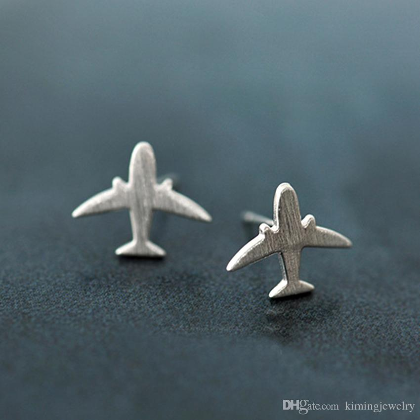 Real Pure 925 Sterling Silver Jewelry For Women Simple Flying Airplane Mini Stud Earring For Girls