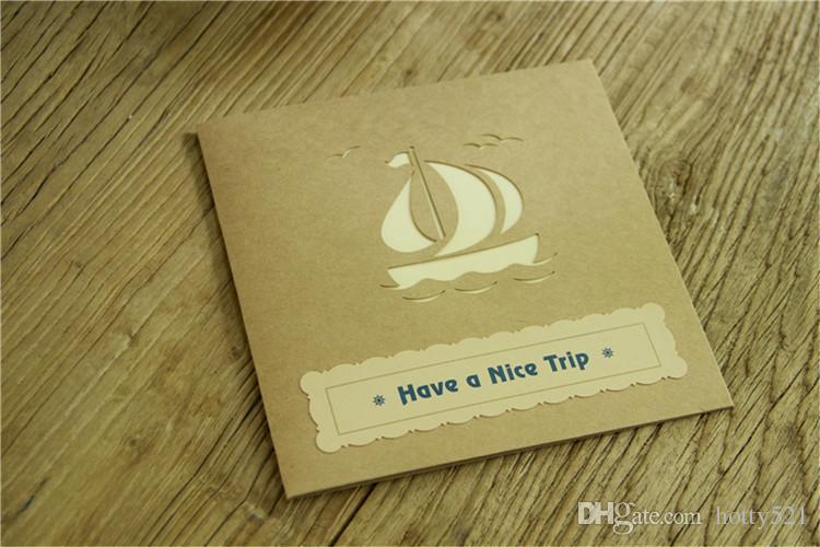 Perfect 3D Pop Up Vintage barco de vela diseño Tarjeta de felicitación de Navidad año nuevo Tarjeta de cumpleaños plegable hueco Kirigami Postal