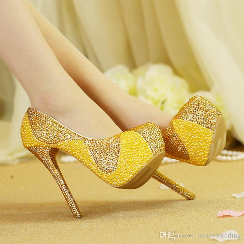 2017 neueste Einzigartige Design Gold Perlen Mit Strass Schuhe Mit Passender Tasche 1,57 Zoll Plattformen Frauen Stiletto Braut Hochzeit Schuhe