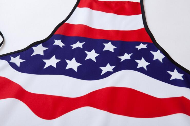 Polyester Apron Kitchen Cooking the United States Apron National Flag Pattern forWomen men Gift 74*56cm About