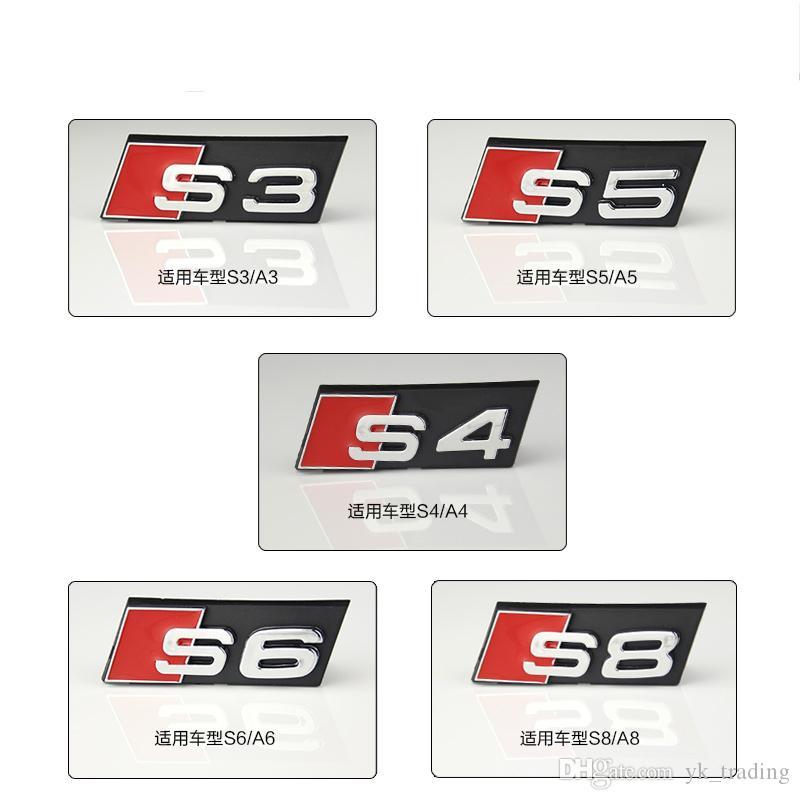 Estilo do carro Audi Bonnet Hood Grill acessórios 3D S3 S4 S5 S6 S7 S8 Logotipo Do Carro Styling Frente Capa Grille Emblema Emblema adesivo