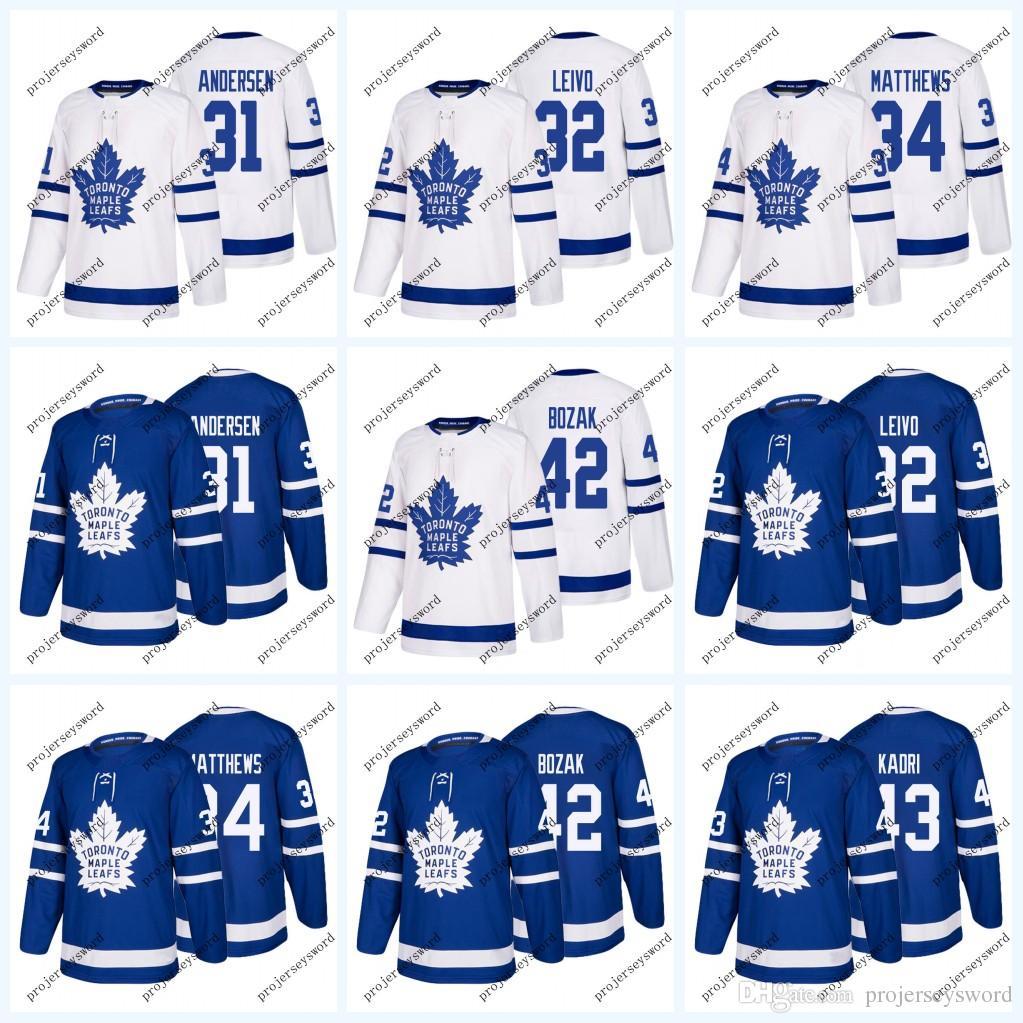 cc58c85338f 2019 Toronto Maple Leafs Jersey 31 Frederik Andersen 32 Josh Leivo 34  Auston Matthews 42 Tyler Bozak Hockey Jerseys Blue White S 3XL From  Projerseysword