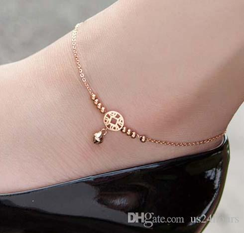 Lover Heart Anklet Foot Rose Gold Titanium Steel Fashion Foot Chain Jewellery Fo Jewelry & Watches Fashion Jewelry