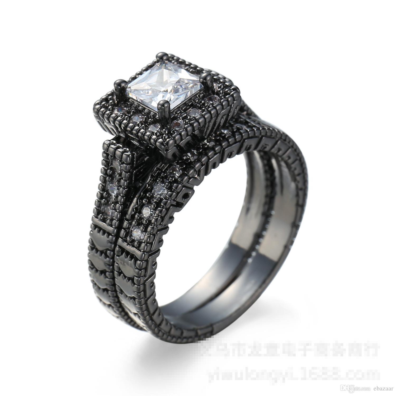 Marke freie Zircon-Schwarz-Gold überzogener Liebhaber, Verlobung, Hochzeit Ring Set Sz6-10
