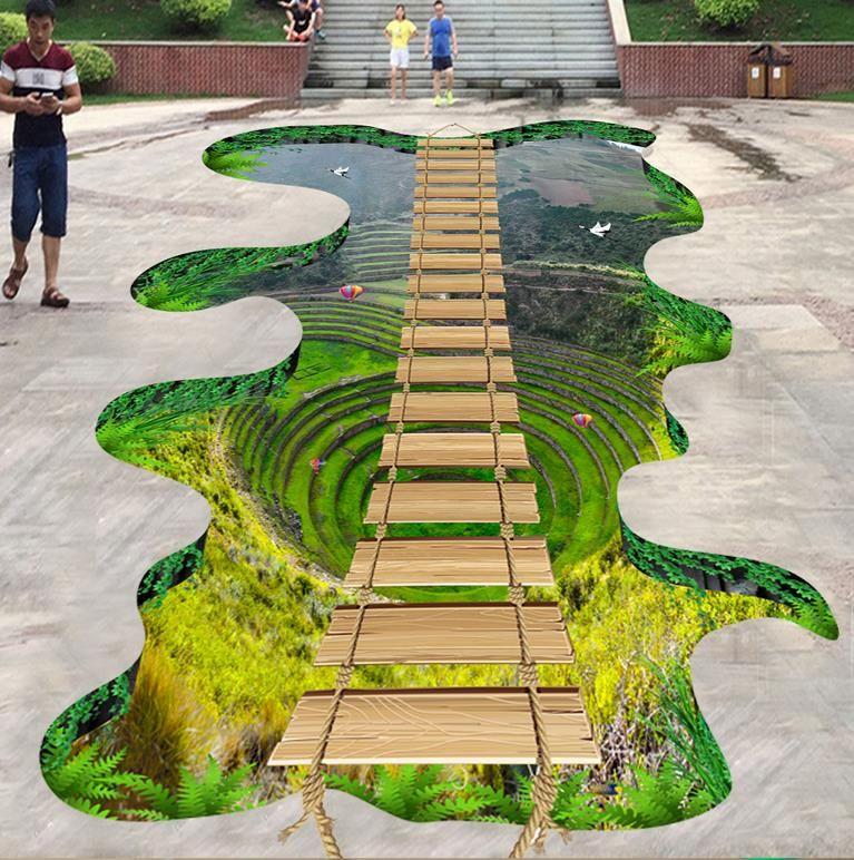 3d Mural Custom 3d Floor Tiles Flyover Peaks Wall Papers