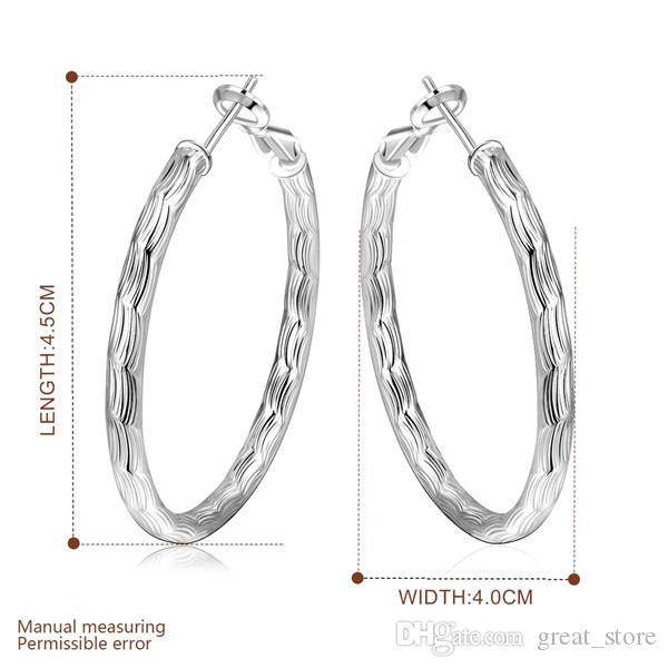 Geschenk Runder Fischmuster Sterling Silber Plate Ohrringe Hoop Huggie GSSE341, Damen 925 Silber Danle Kronleuchter Ohrring