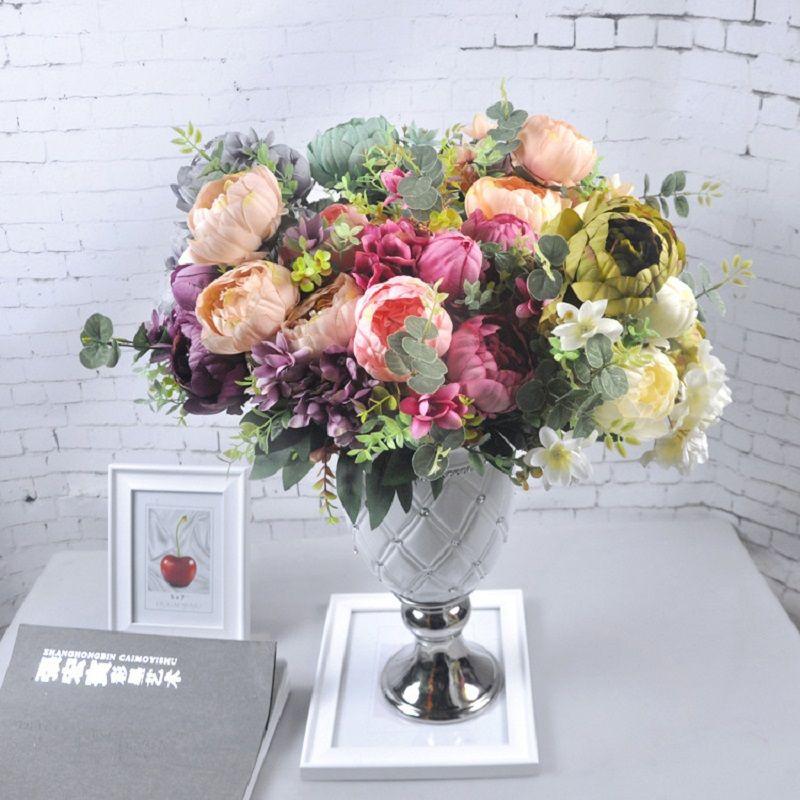 Vintage Artificial Peony Silk Flower Wedding Home Silk Flowers Simulation Peony Flower Hydrangea Flower Wedding Centerpieces DÉCor