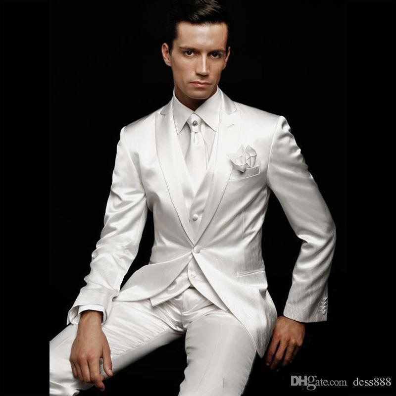 2017 Latest Coat Pant Designs Men Suit Grooms Wear White Wedding ...