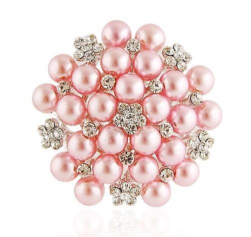 2.2 inch Rhodium Verzilverd Clear Rhinestone Crystal White Faux Pearl Snow Flower Bridal Broche Sieraden