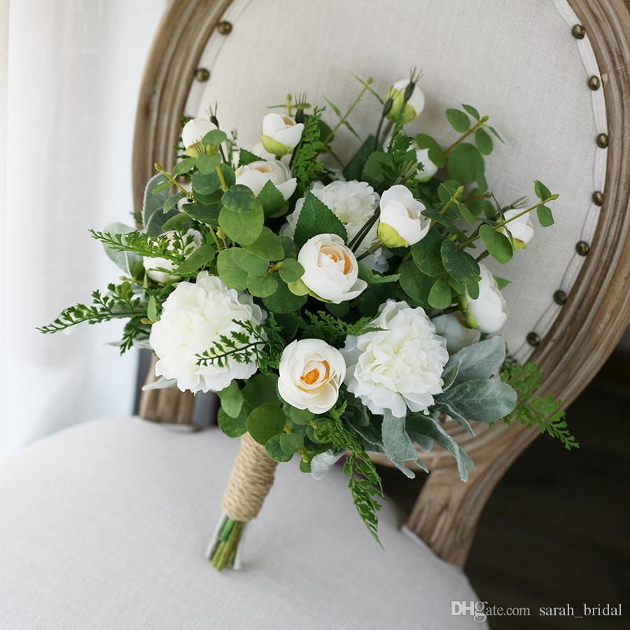 white green country artificial bridal bouquets 2017 peony lu lotus eucalyptus leaves wedding. Black Bedroom Furniture Sets. Home Design Ideas