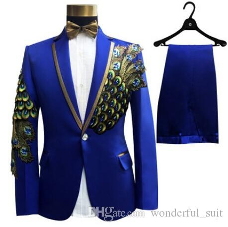 (Jacket +Pants+Bow)2017 Fashion Royal Blue Embroidered Male Singer Show Tuxedos Slim Fit Performance Party Prom Suits For Men