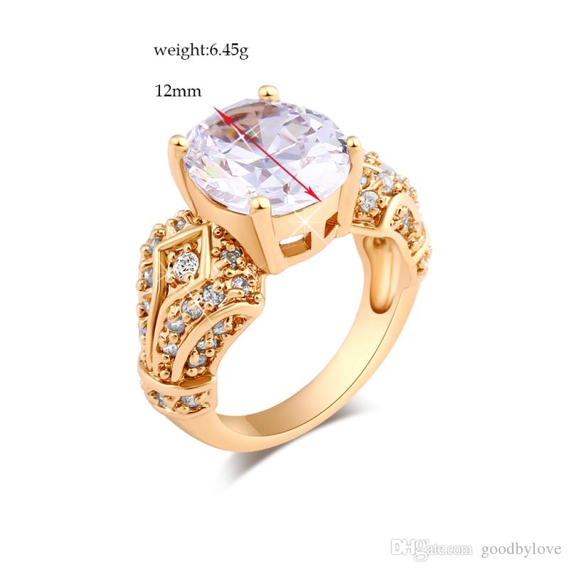 Yellow Gold Color Four Claws Big Cubic Zirconia CZ Clear Crystal Cluster Party Wedding Ring Fashion Womens Jewelry Bijoux Gift