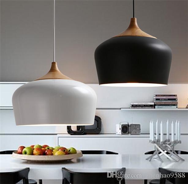 Modern Aluminum Oak Wood Pendant Light Lustres Black