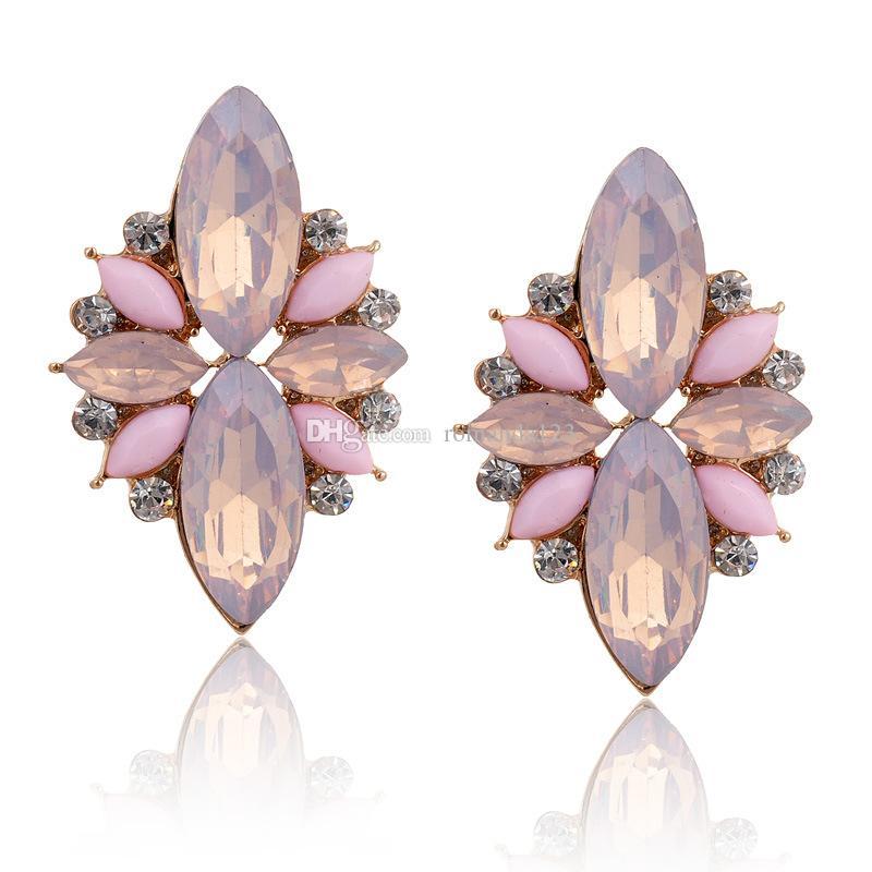 Opal Stone Stud Earrings New Elegant Crystal Earrings For Women ...