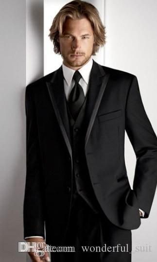 Nach Maß neuer Art-Bräutigam-Smoking-Spitzen-Revers-Männer Klage-Schwarz-Groomsman / Bräutigam-Hochzeit / Abschlussball-Klagen Jacke + Pants + Tie + Vest A342Q