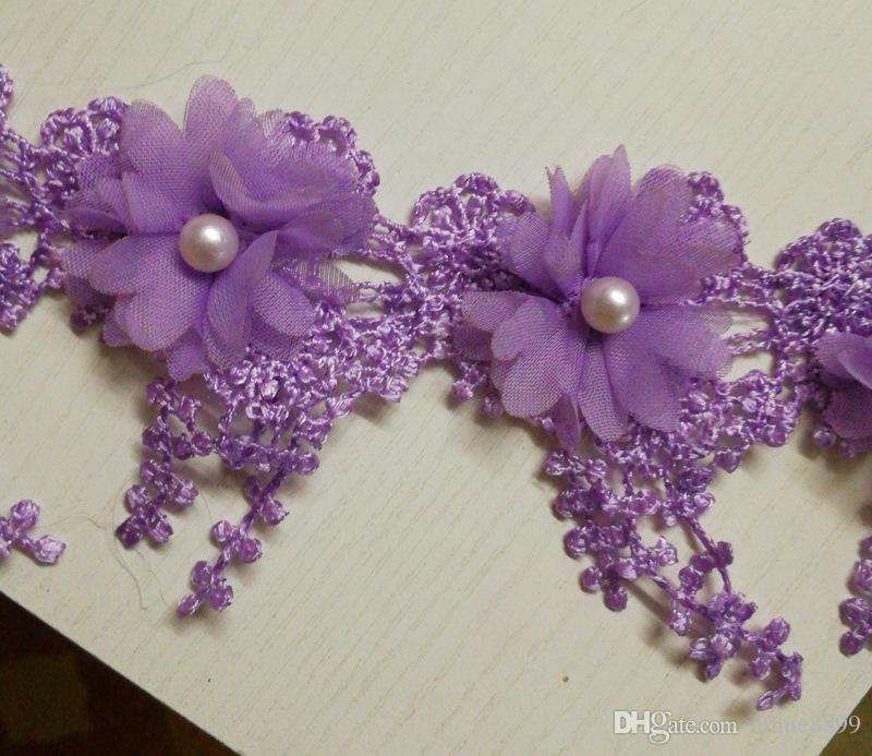 15 Yard / Multi Couleur en mousseline de soie perlé dentelle trim bricolage Polyester robe de mariée vêtements accessoires décoration dentelle tissu 7 cm de large