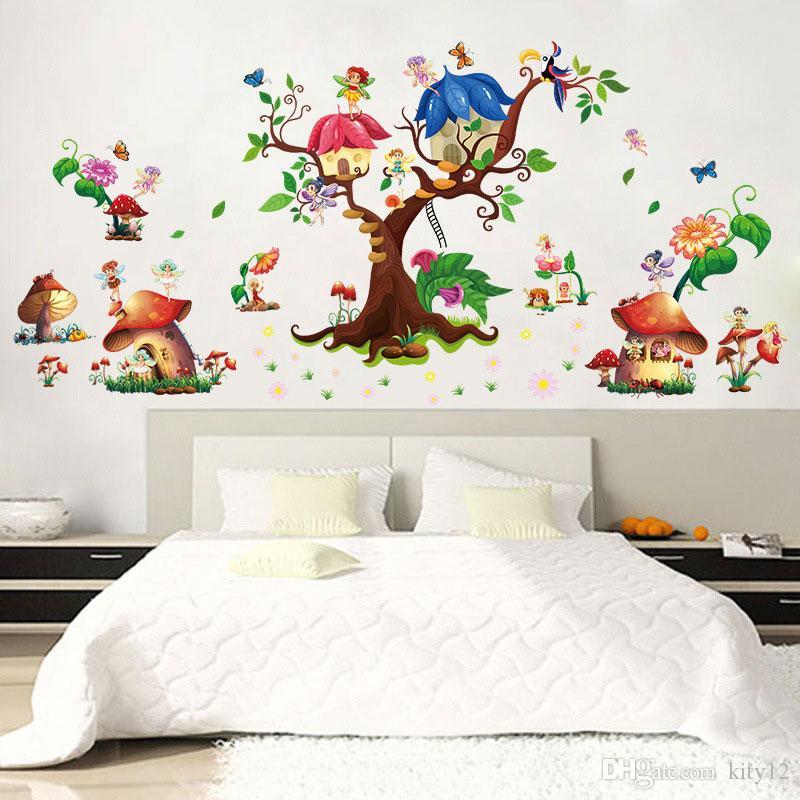 Beautiful Butterfly Mushroom Wall Sticker Creative Flower Elf Wall Art Diy  Home Decor For Kids Room Kindergarten Decoration Wall Art Tree Stickers Wall  Art ... Part 84